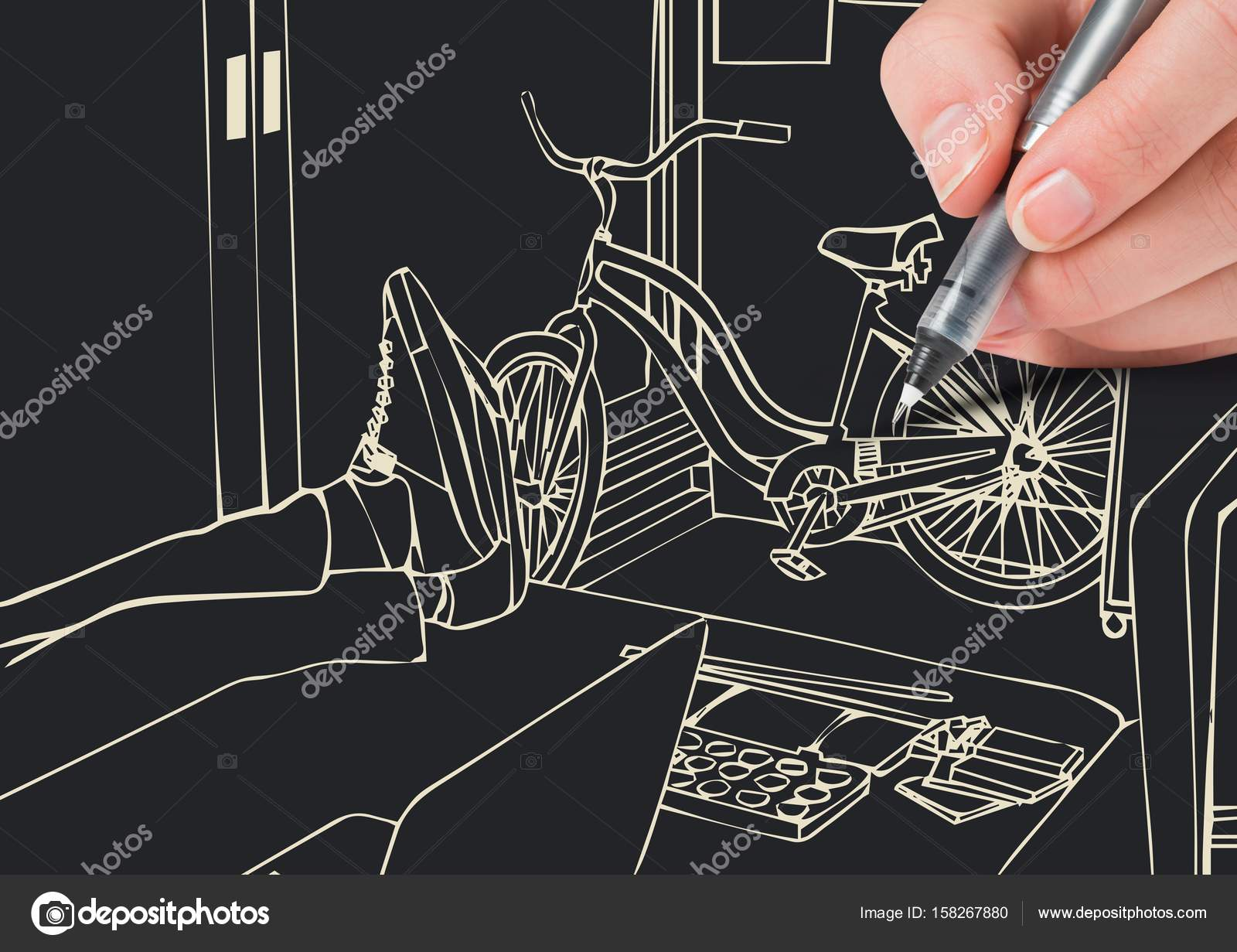 Hand Drawing 3d Office Lines Stock Photo C Vectorfusionart