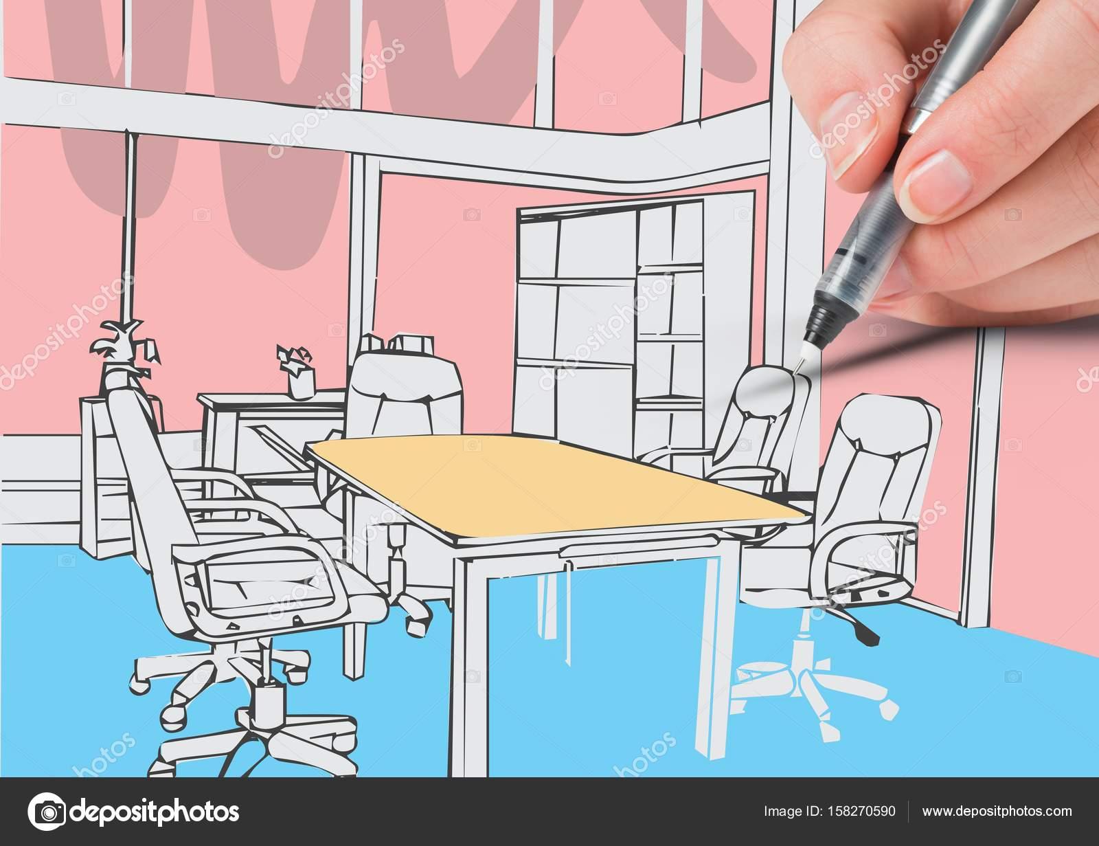 Disegno Di Ufficio : Mano d disegno di linee di ufficio colori bianco u foto stock