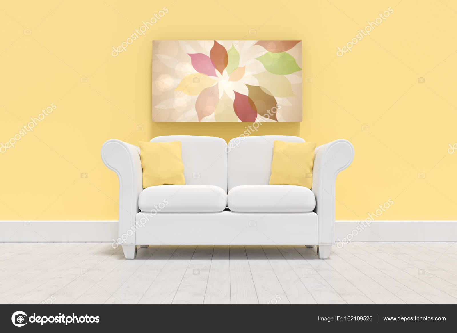 Empty couch against yellow wall — Stock Photo © vectorfusionart ...