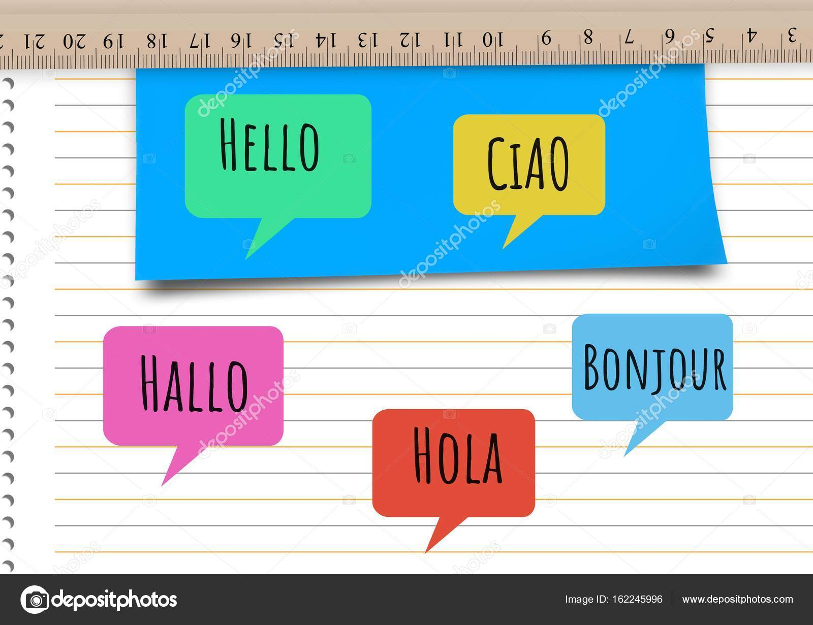 Hello In Different Languages Chat Bubbles Stock Photo