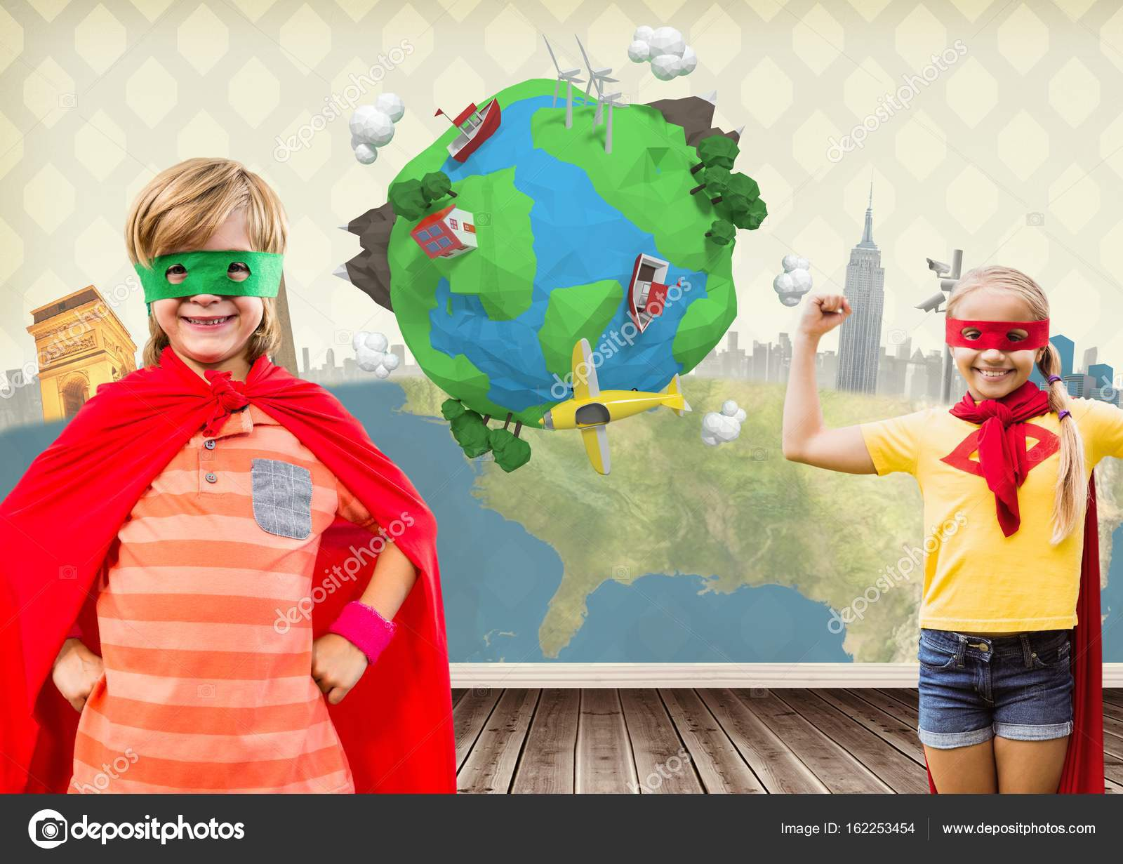 Digital Composite Of Superhero Kids In Room With Planet Earth World U2014 Photo  By ...