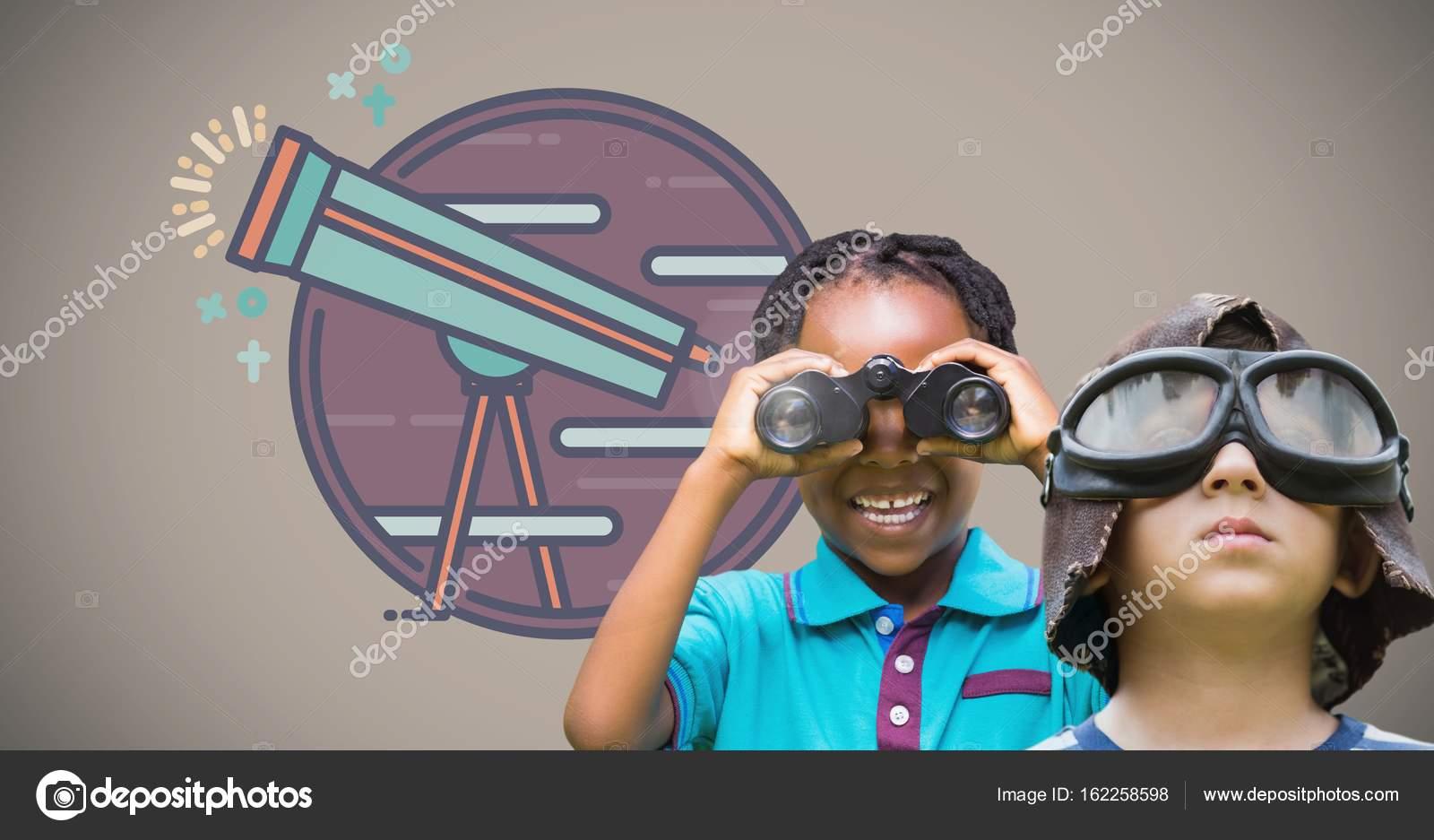 Kinder mit fernglas u stockfoto vectorfusionart