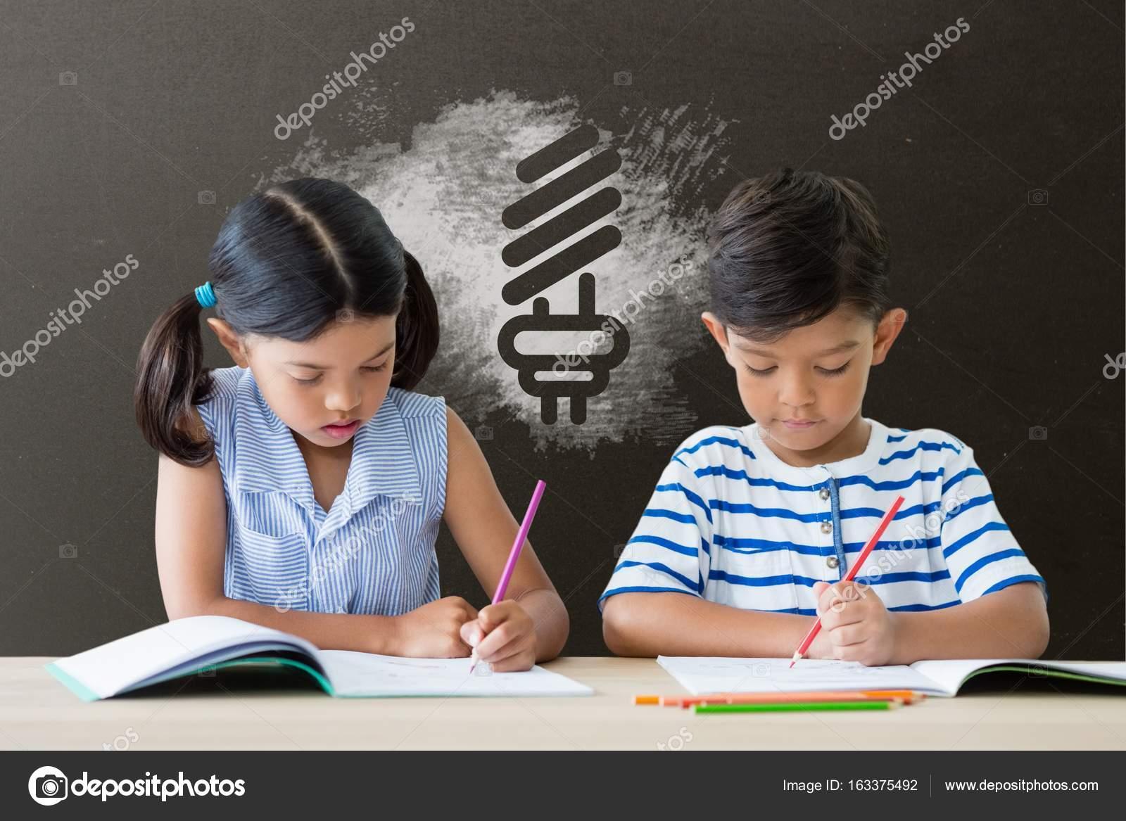 Studenten in Tabelle schreiben — Stockfoto © vectorfusionart #163375492