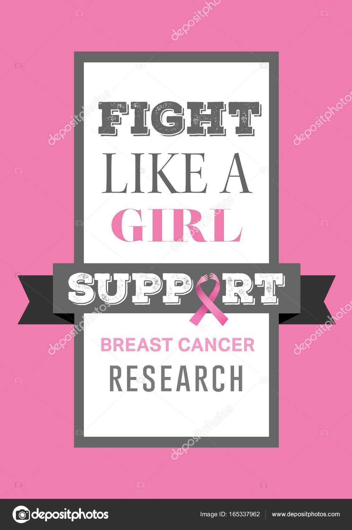 Combatti Come Una Ragazza Testo E Seno Cancro Consapevolezza Foto