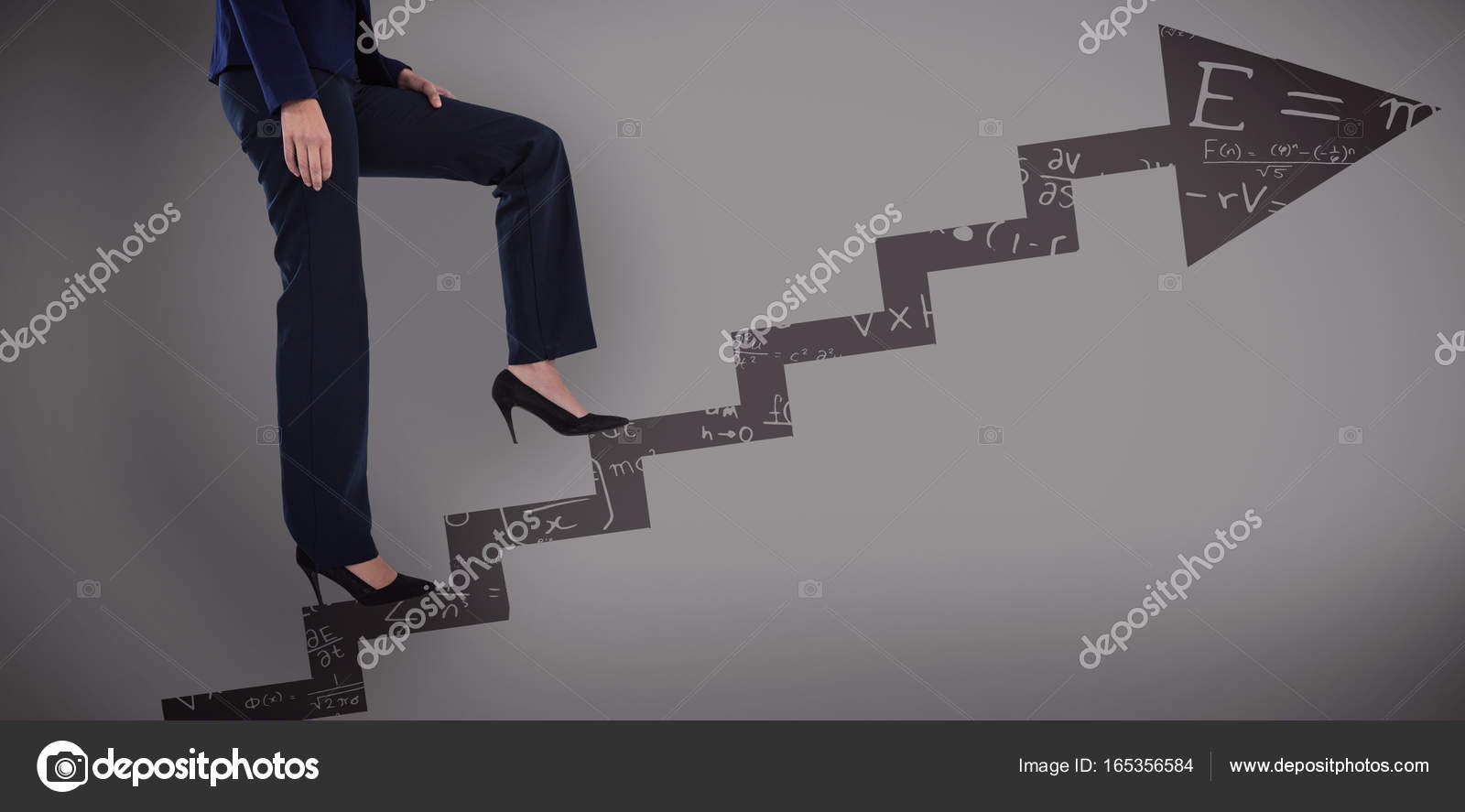 businesswoman in heels climbing steps stock photo