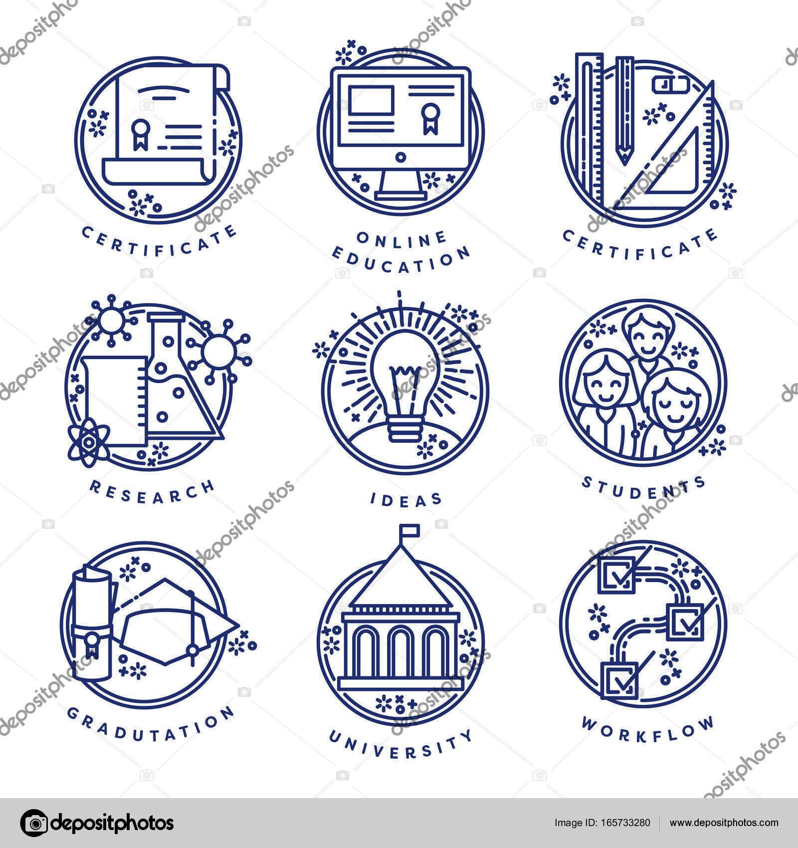 Vector Set Of Education Symbol Stock Vector Vectorfusionart