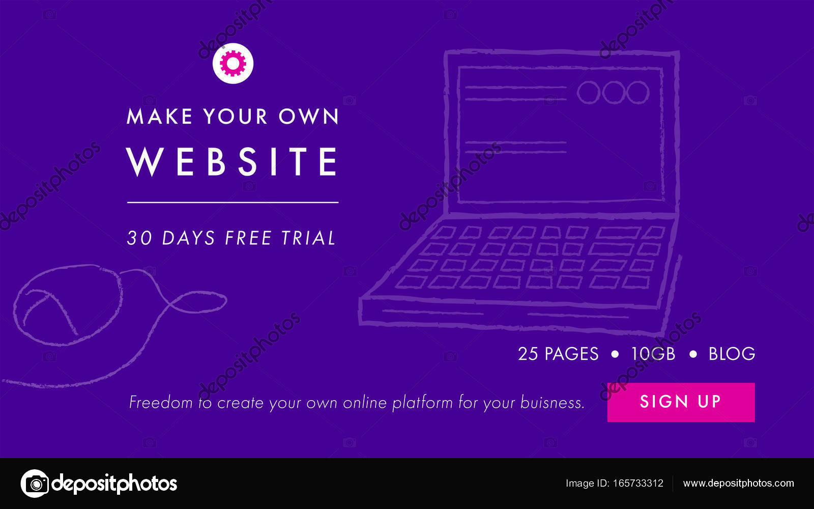 Make Your Own Website Text And Desktop Pc Stock Vector