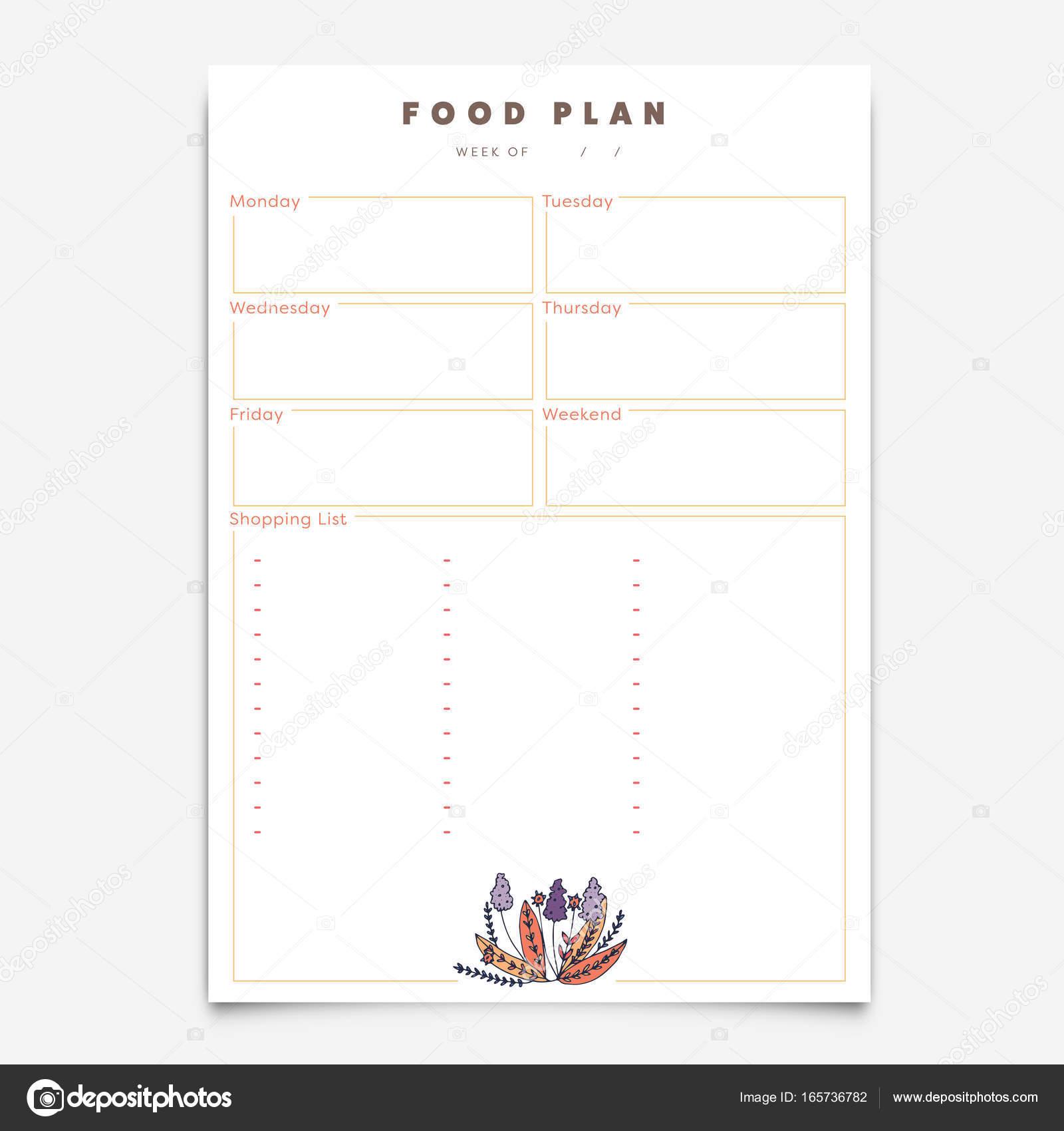 food planner template stock vector vectorfusionart 165736782