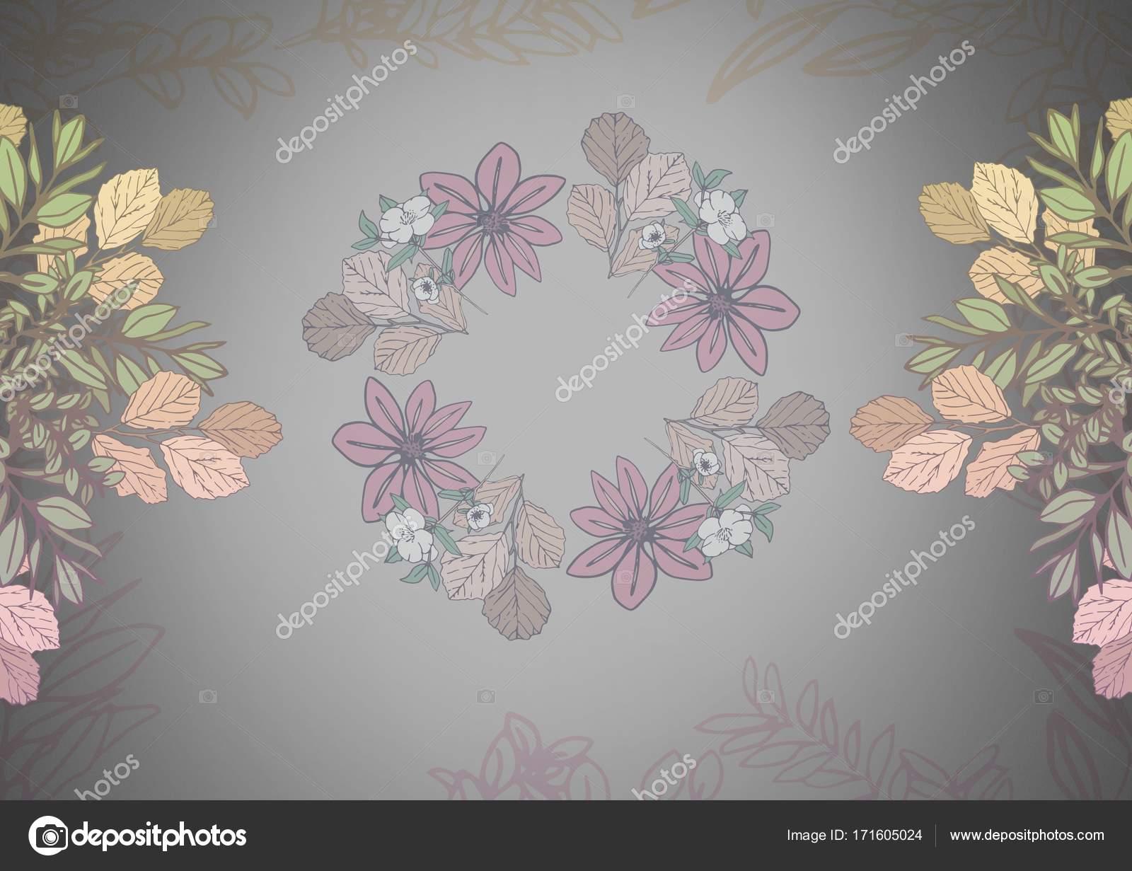 Grey background with pretty flower patterns stock photo digital composite of grey background with pretty flower patterns photo by vectorfusionart mightylinksfo