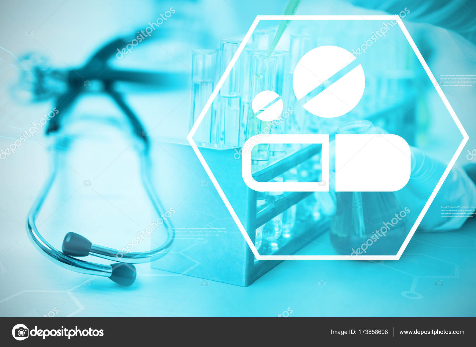 digital background with medication sign stock photo