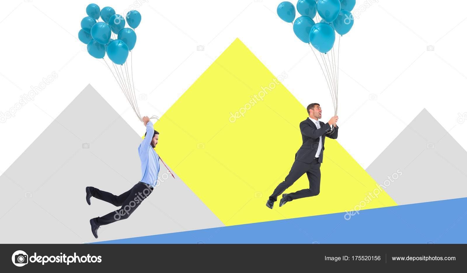 Empresarios Flotando Con Globos Con Formas Minimas Foto De Stock - Globos-con-formas