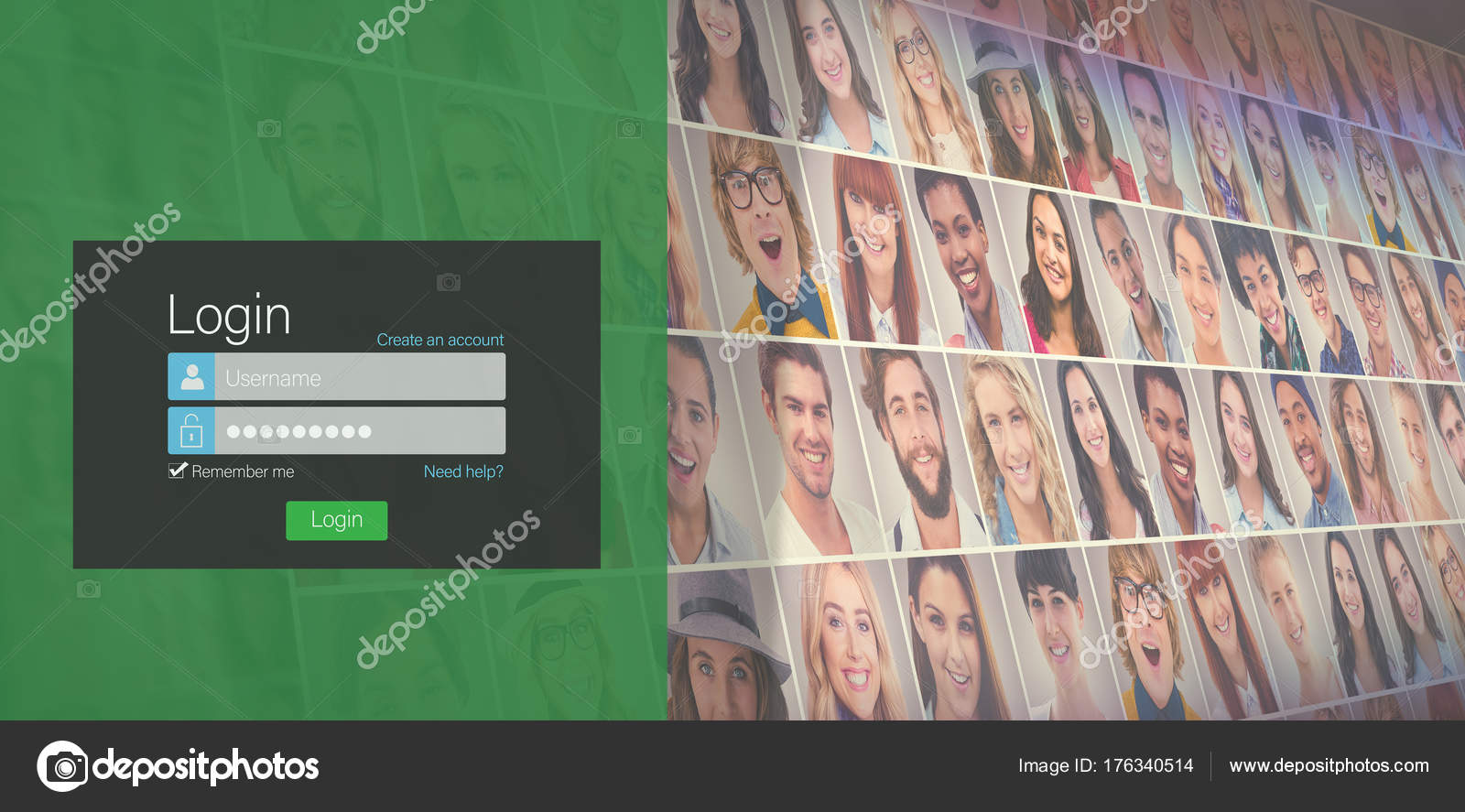 login page against collage of portraits stock photo