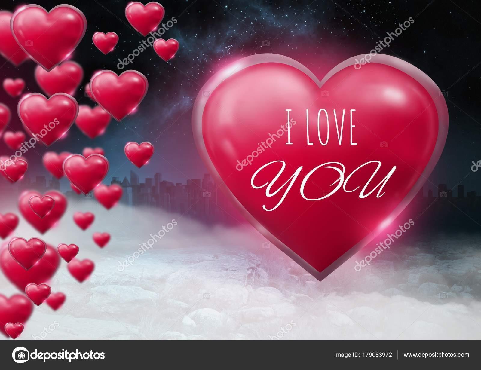 Digitale Composiet Van Love You Tekst Glanzende Bubbly Valentines