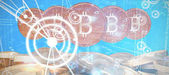 Virus background against bitcoins