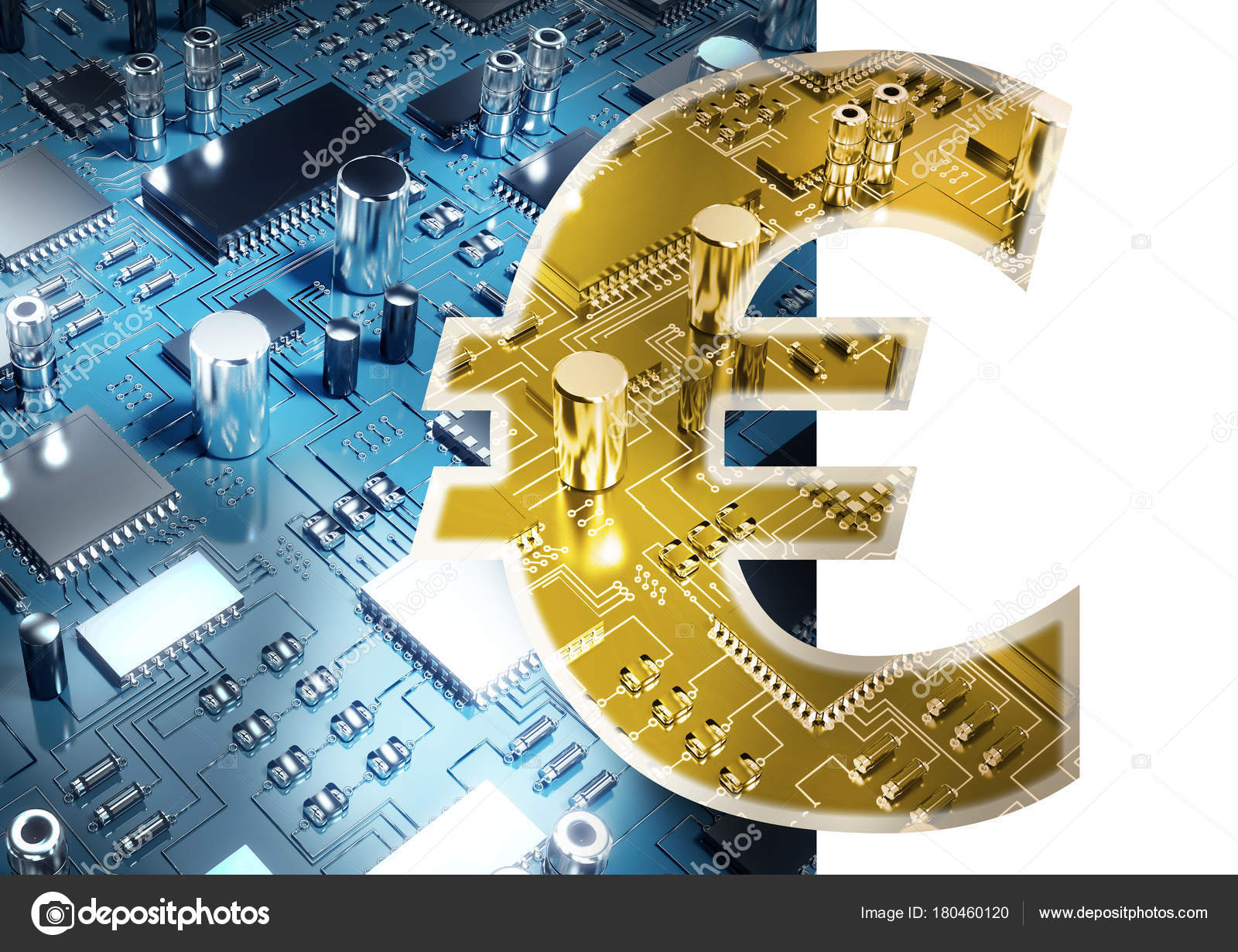 Symbol Euro Sign Currency Close Circuit Board Stock Photo