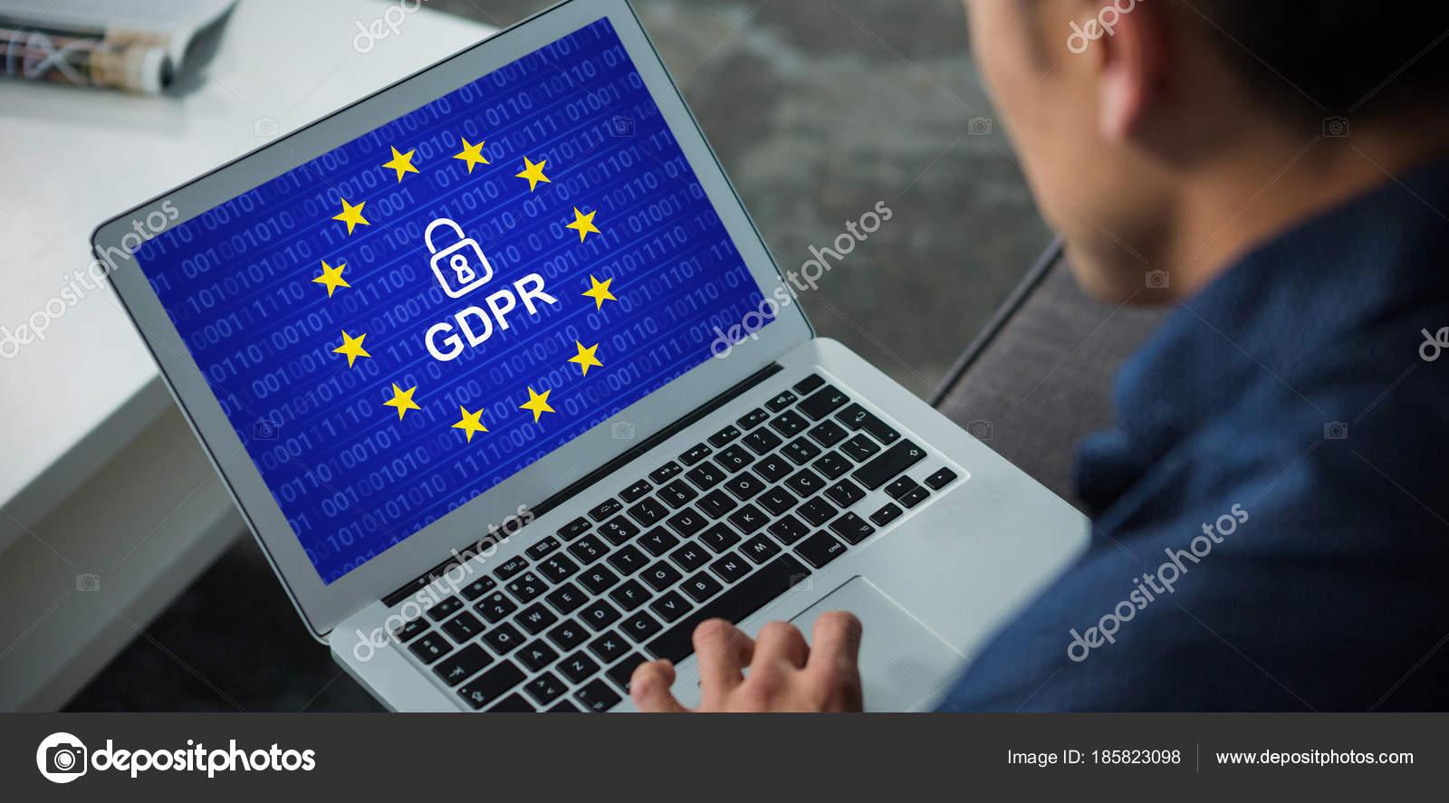 44b4ff21cb Union européenne bloqué contre le dirigeant d'entreprise à l'aide d'ordinateur  portable — Image de ...