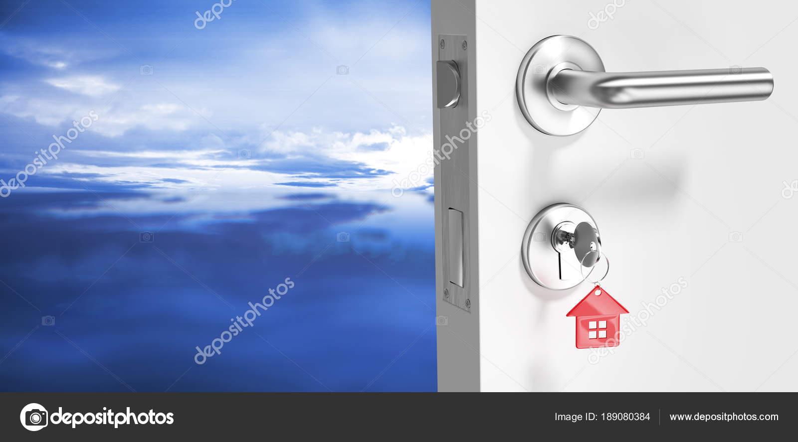 Digitally Generated Image Open Door House Key Blue Sky Blue