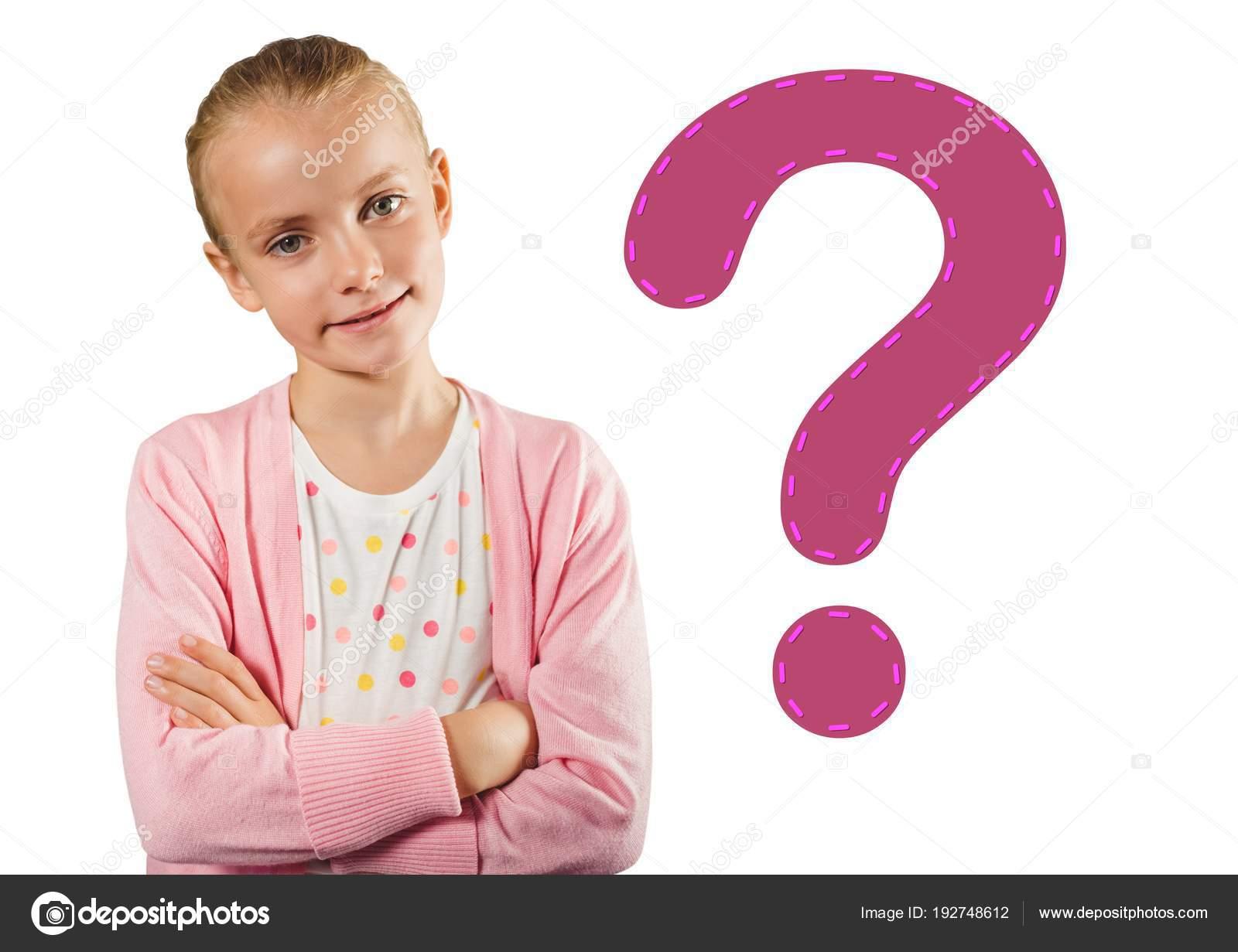 Signo Interrogación Con Niño Digital Compuesto Niña Rosa STgqp06ap