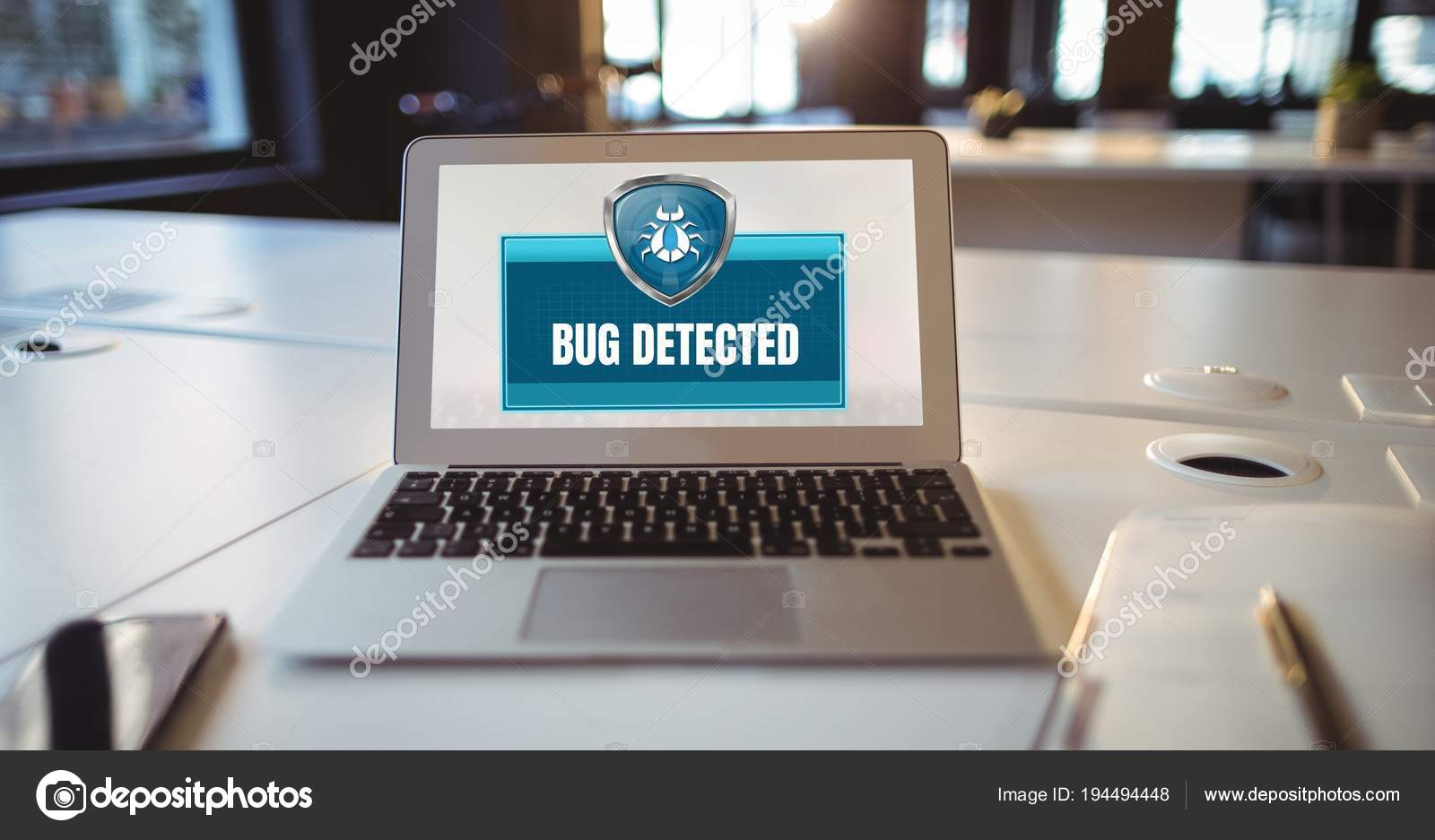 Digital Composite Antivirus Bug Detected Security Protection Shield