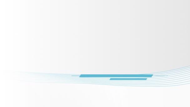 Animace modrých pruhů a tenkých vln pohybujících se v bezešvé smyčce v hypnotickém pohybu na bílém pozadí.