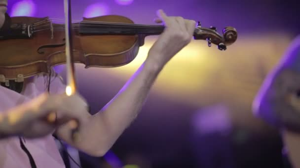 close up of musician playing violin classic music
