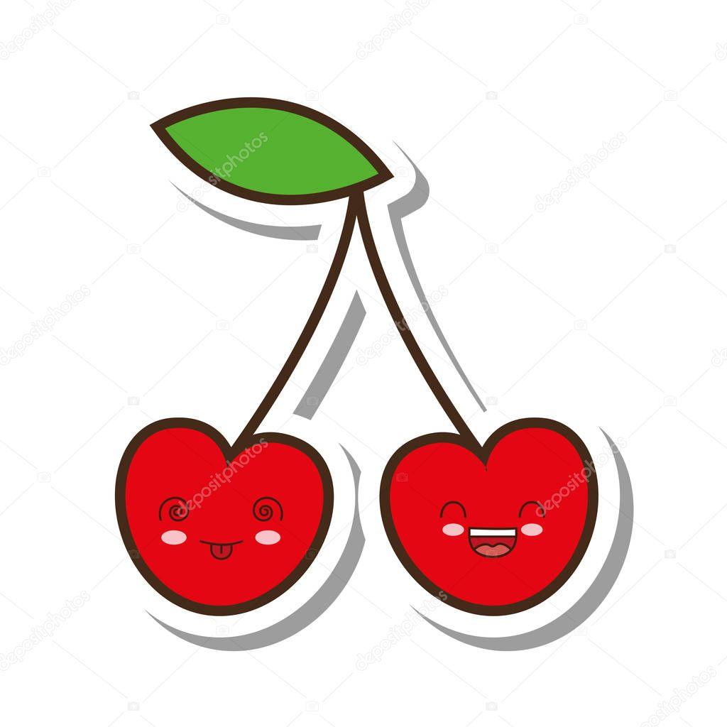 Cerise fruits frais style kawaii icône isolée image ...