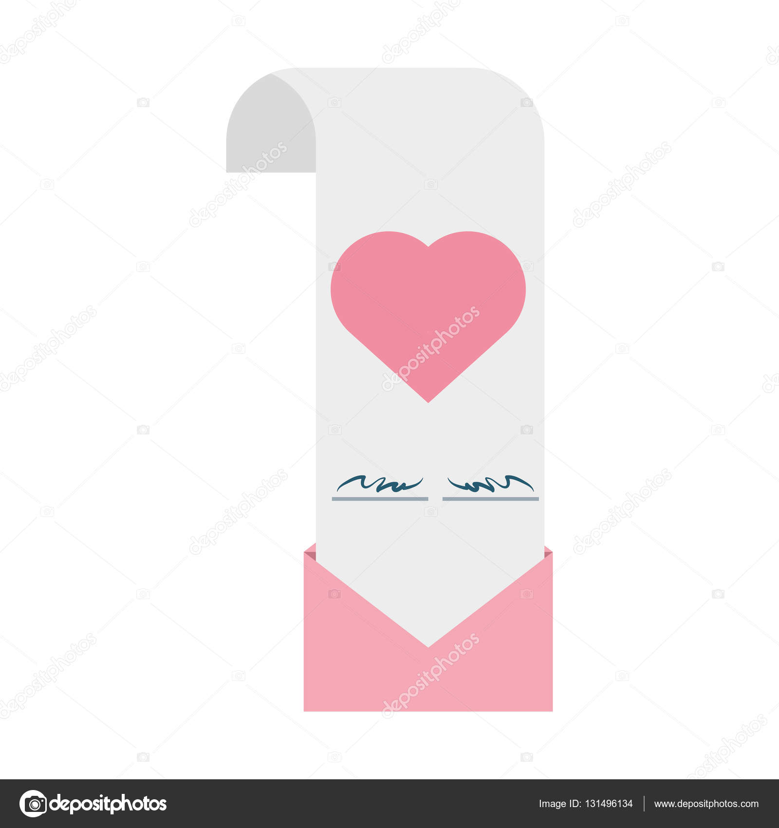 Wedding invitation card pink heart envelope stock vector djv wedding invitation card pink heart envelope vector illustration eps 10 vector by djv stopboris Choice Image
