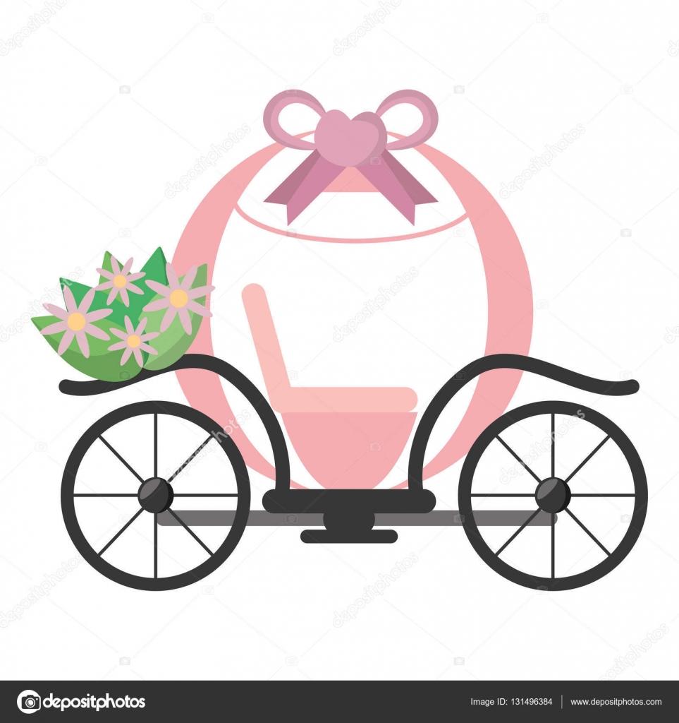 Vintage Rosa Kutsche Hochzeitsblumen Stockvektor C Djv 131496384