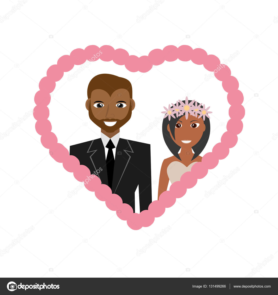 corazón de linda pareja afro americano boda marco — Vector de stock ...