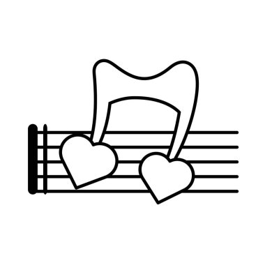 pictogram musical staff note hearts love design