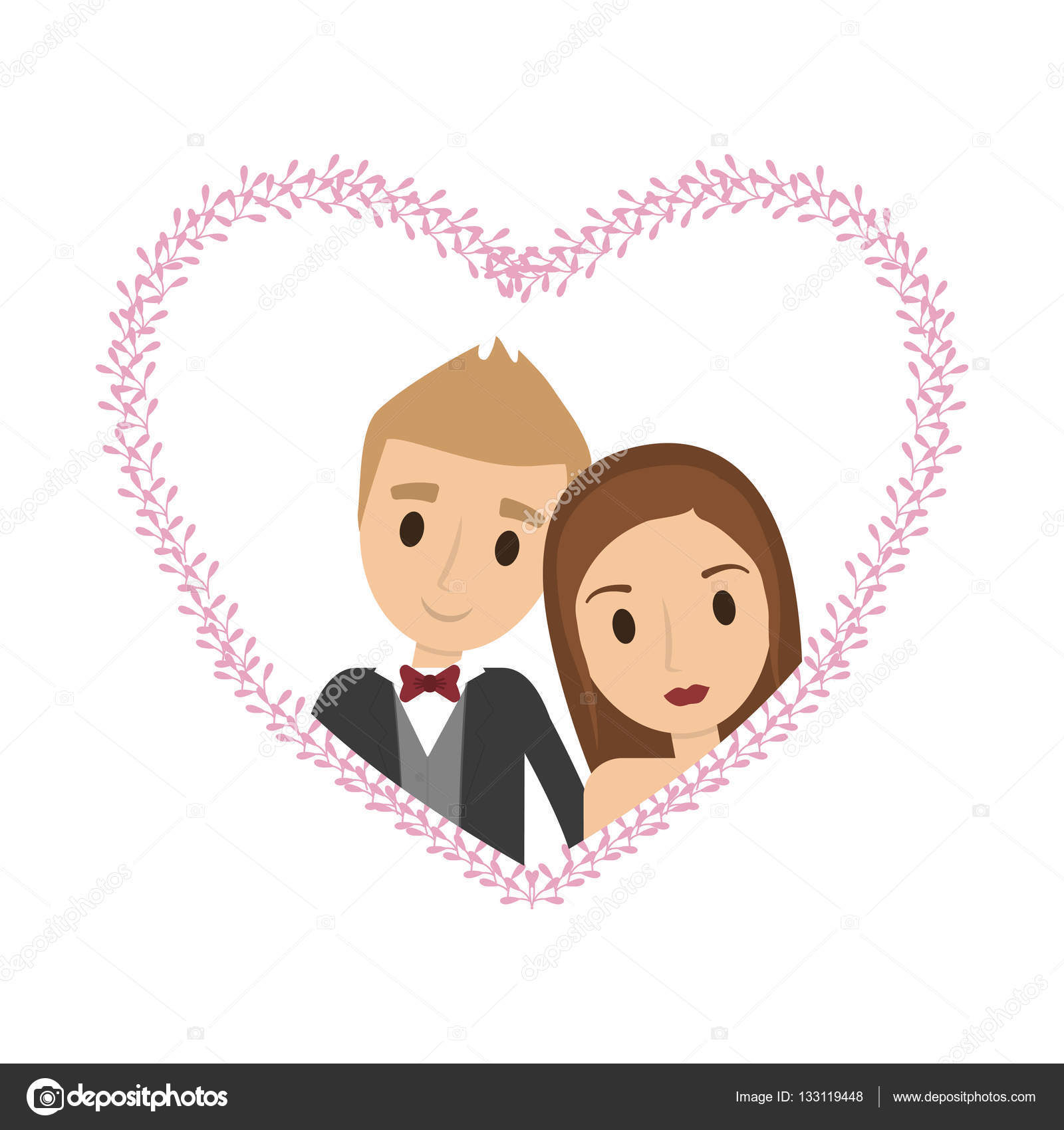 Couple of newlyweds frame decorative — Stock Vector © djv #133119448