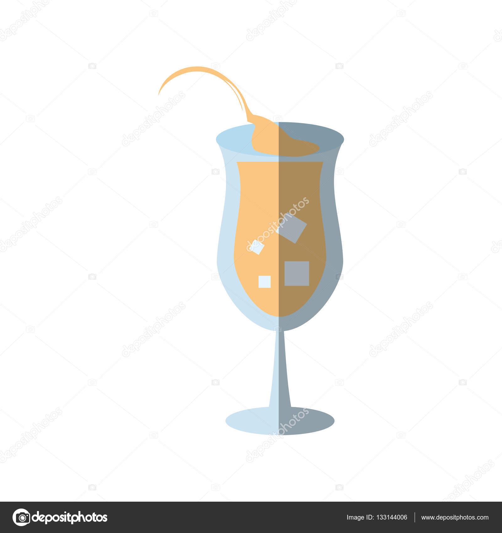 Cartone animato bicchiere da cocktail succo segno ombra u2014 vettoriali