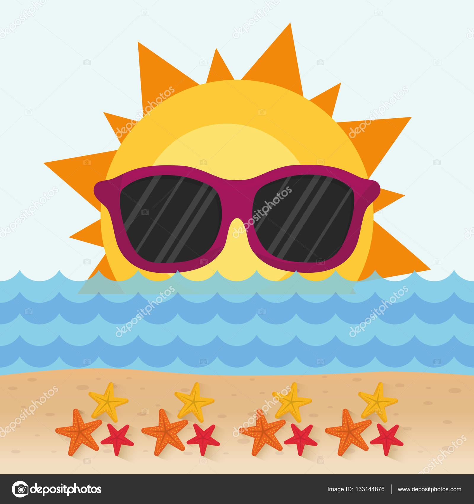72fe79198d390c grappig zon met zonnebril sterren strand — Stockvector © djv  133144876