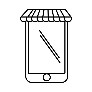 smartphone shopping online store graphic outline
