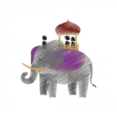 tourist with elephant indian ride design