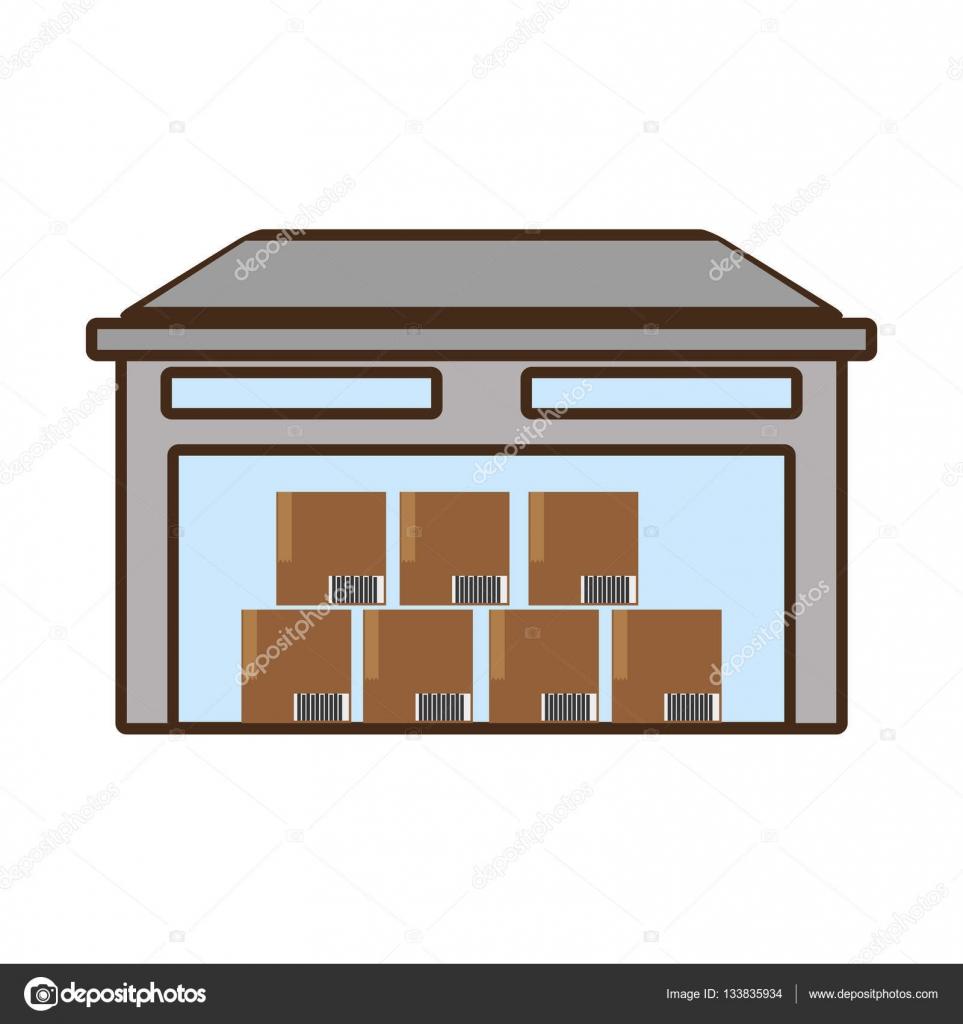 Desenhos Animados Carga De Caixas De Papelão De Armazém De