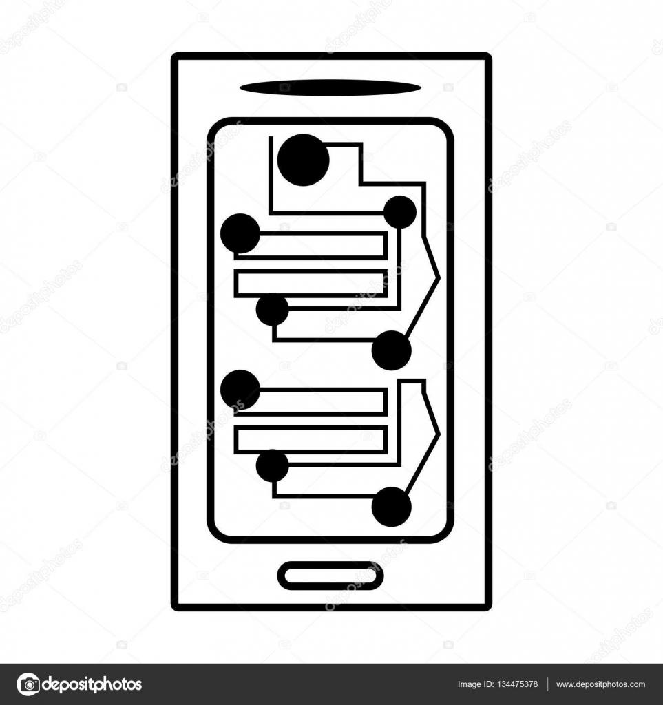 Circuito Lineal : Teléfono inteligente electrónica circuitos lineales u vector de