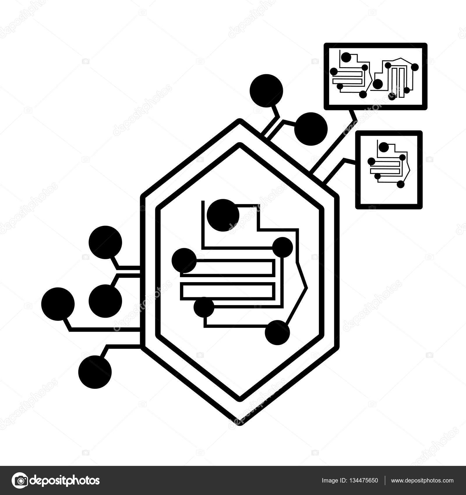 Circuito Lineal : Equipo circuito hexagonal componente electrónico lineal u vector