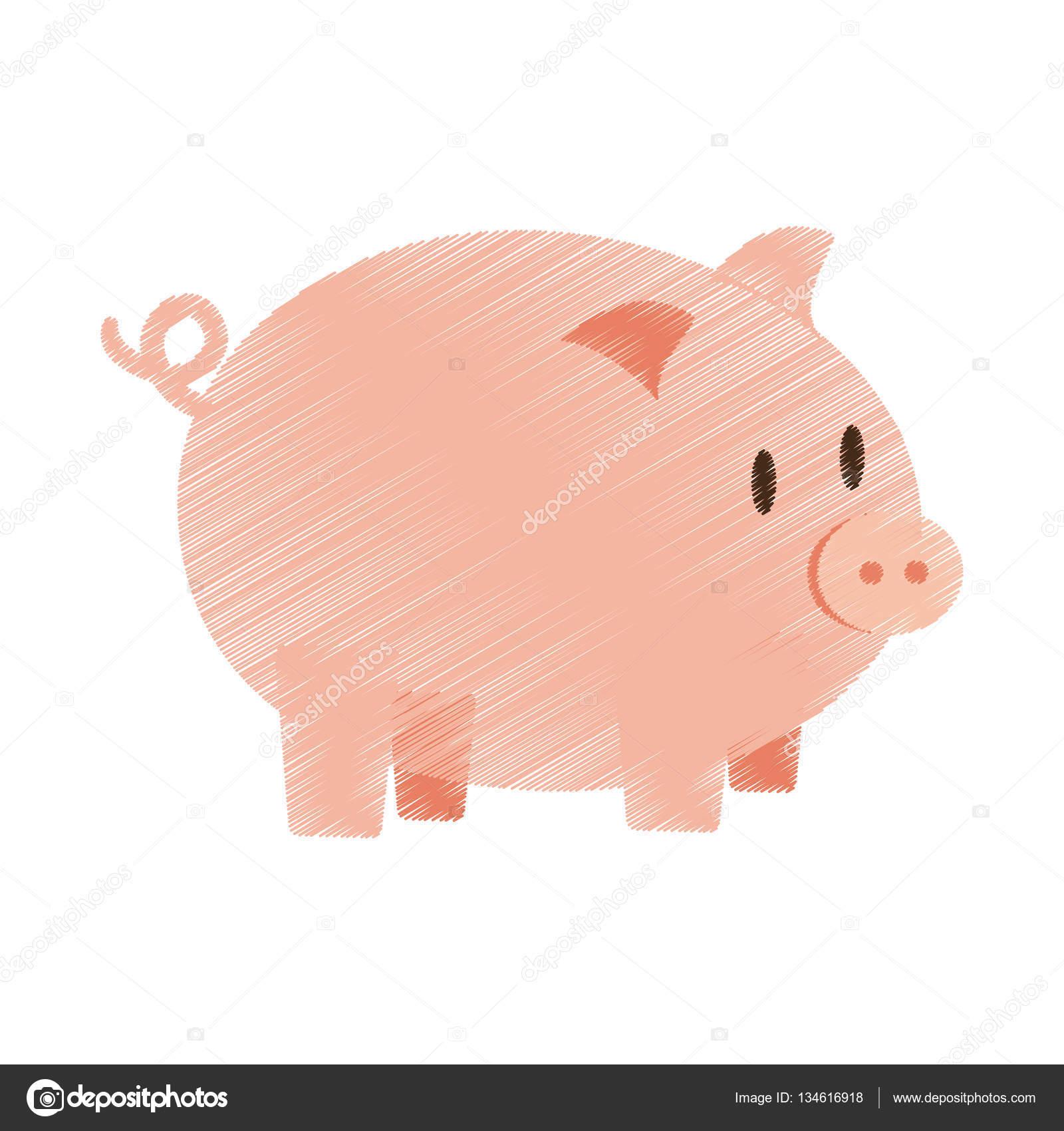 mão desenhar porquinho dinheiro banco cor vetores de stock djv