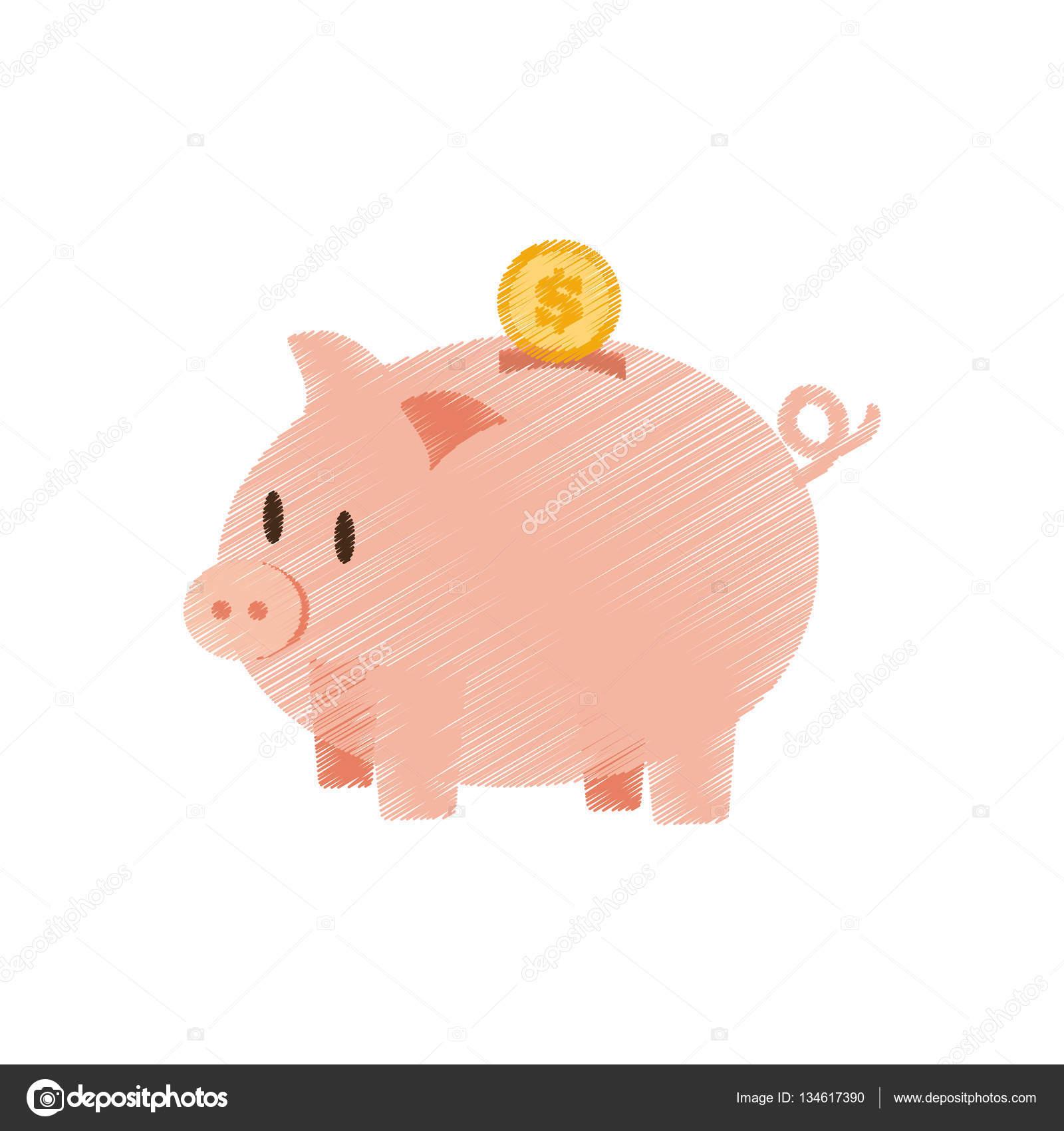 mão desenhar porquinho moeda salvar a cor do dinheiro vetores de