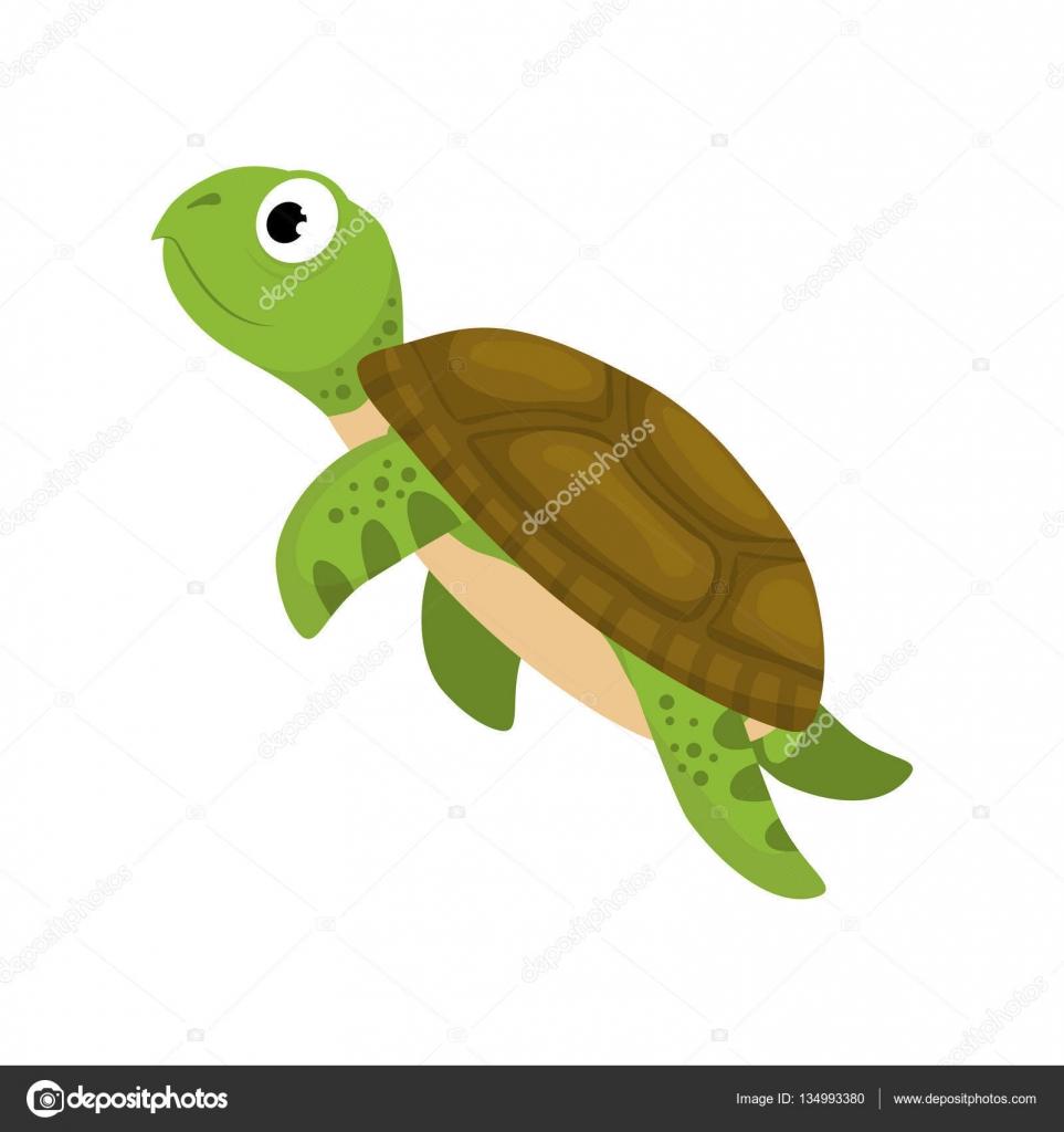 Cartone animato tartaruga marina — vettoriali stock djv