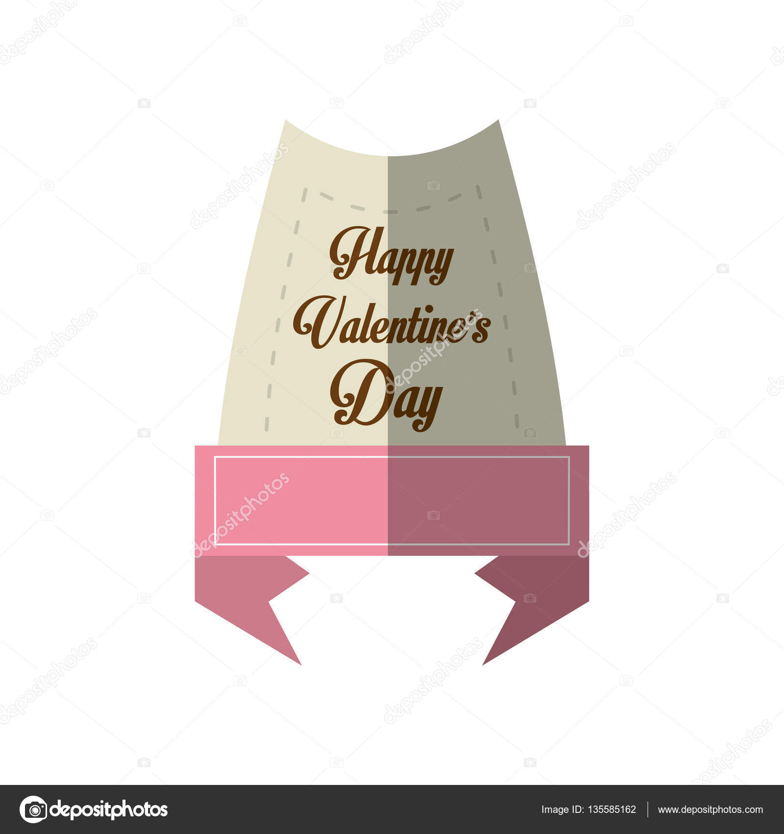 happy valentines day card message pink ribbon shadow stock vector
