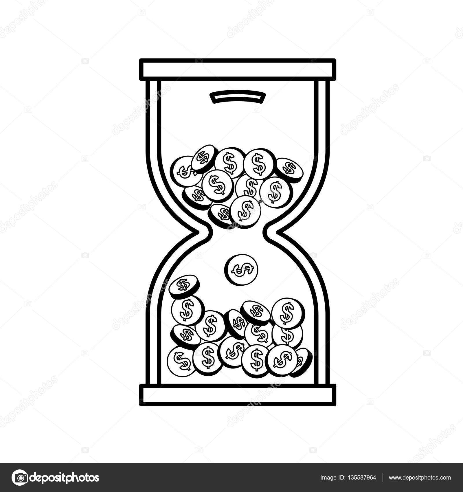coins in time hourglass stock vector djv 135587964 Clock Hourglass Art coins in time hourglass icon vector illustration graphic design vector by djv