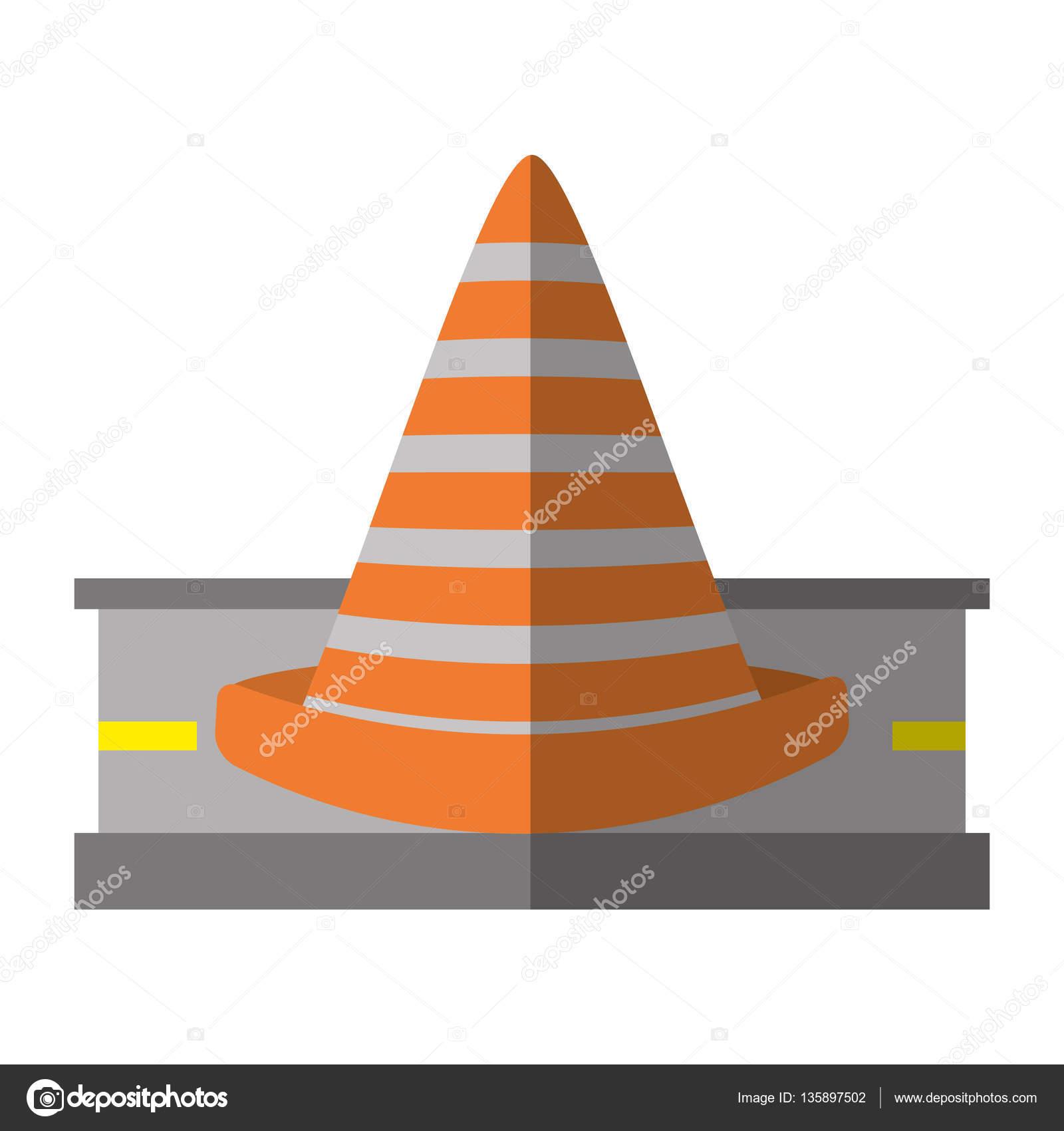 Dessin Panneau Attention panneau de signalisation cône attention de dessin animé — image