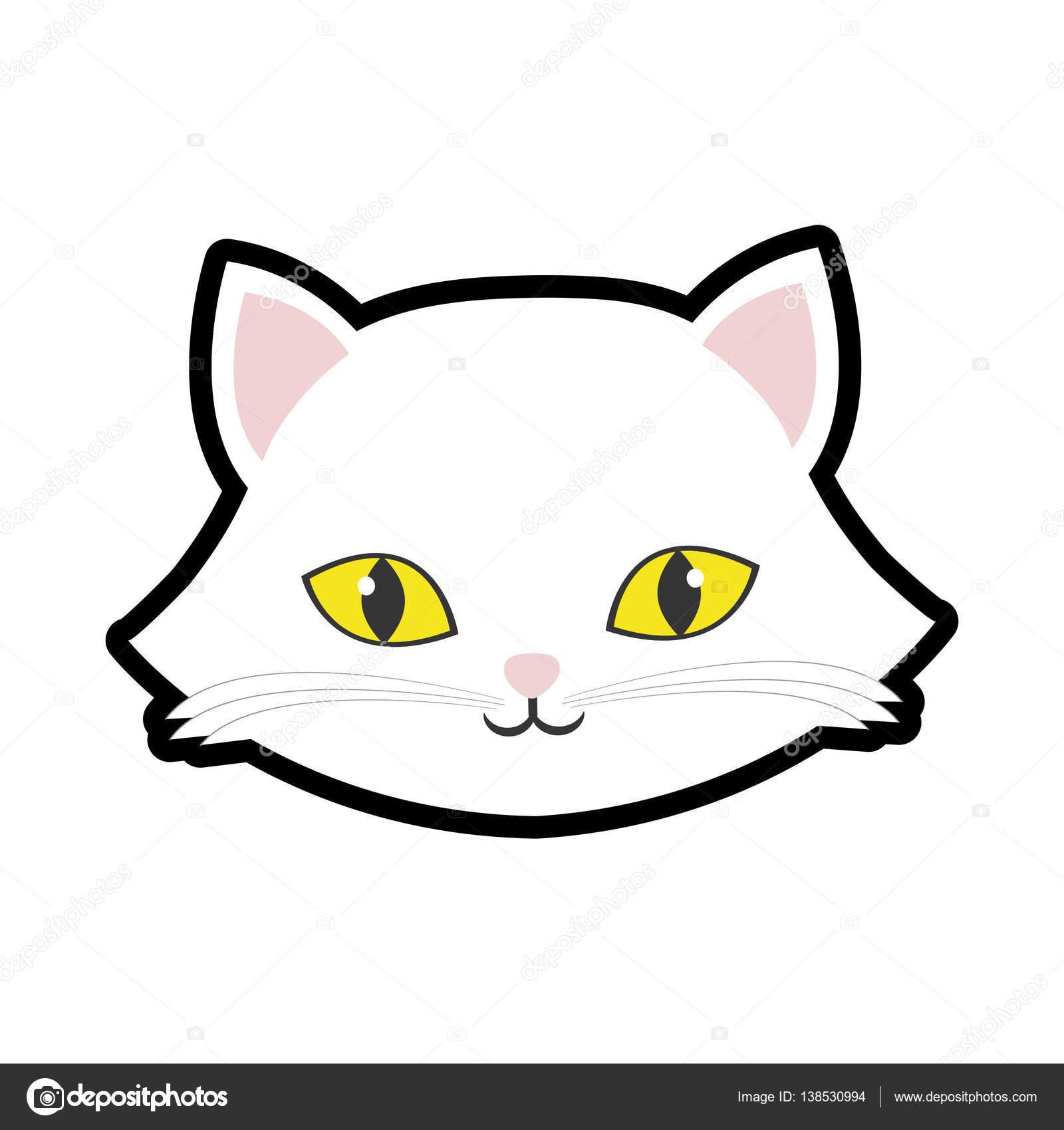 白猫キティ黄色目動物かわいい — ストックベクター © djv #138530994
