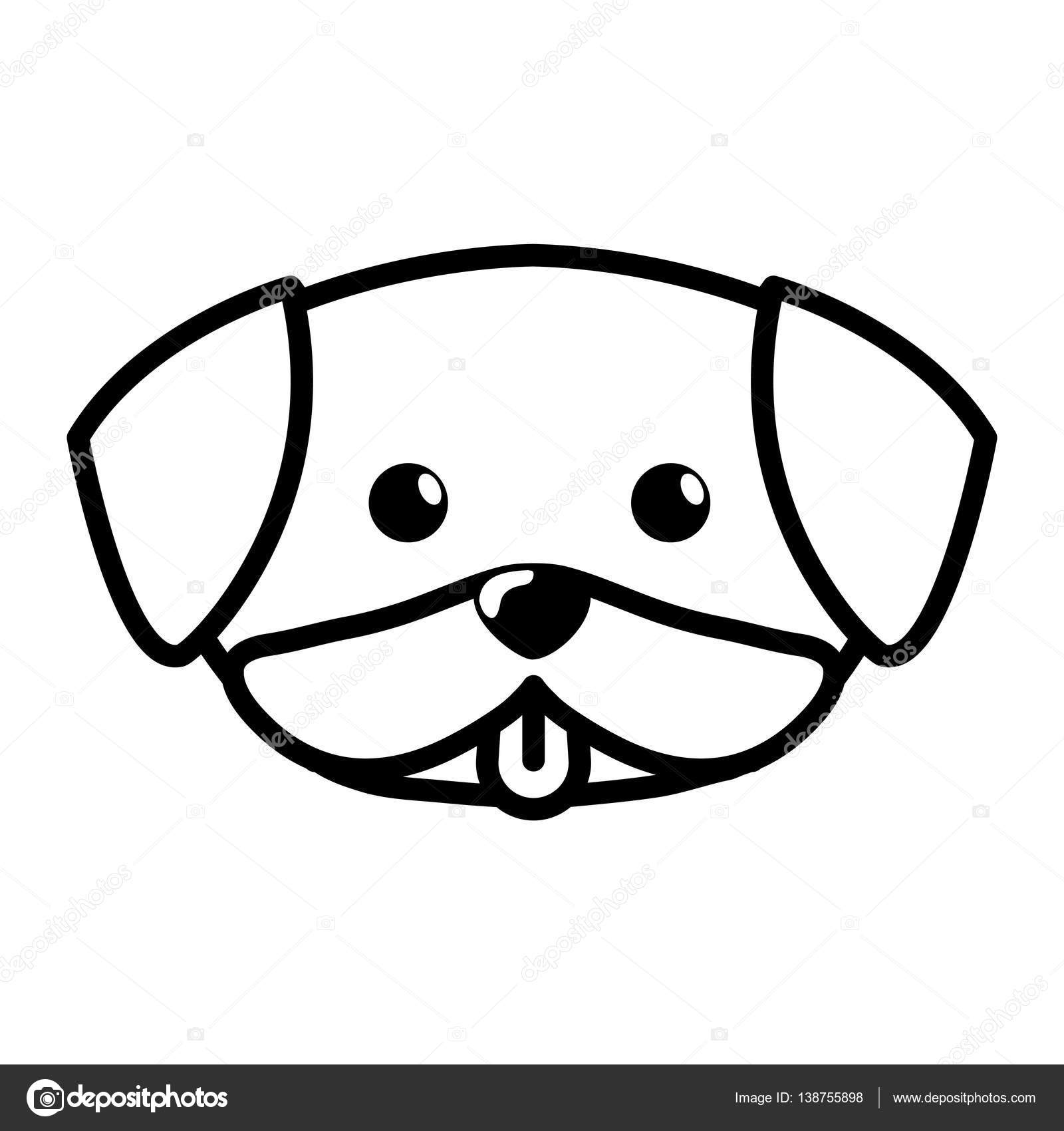 Line Drawing Of A Dog S Face : Face dog cute tongue out outline — stock vector djv