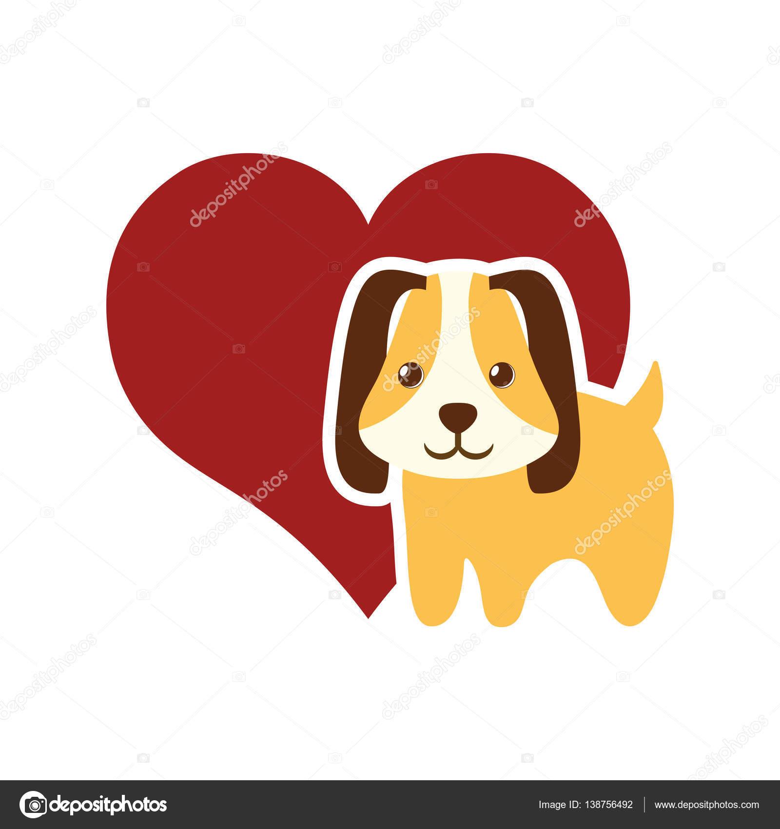 犬動物ペット耳の長い赤いハート — ストックベクター © djv #138756492