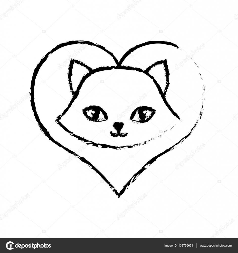 desenho de gato fofo lindo amor animal vetores de stock djv