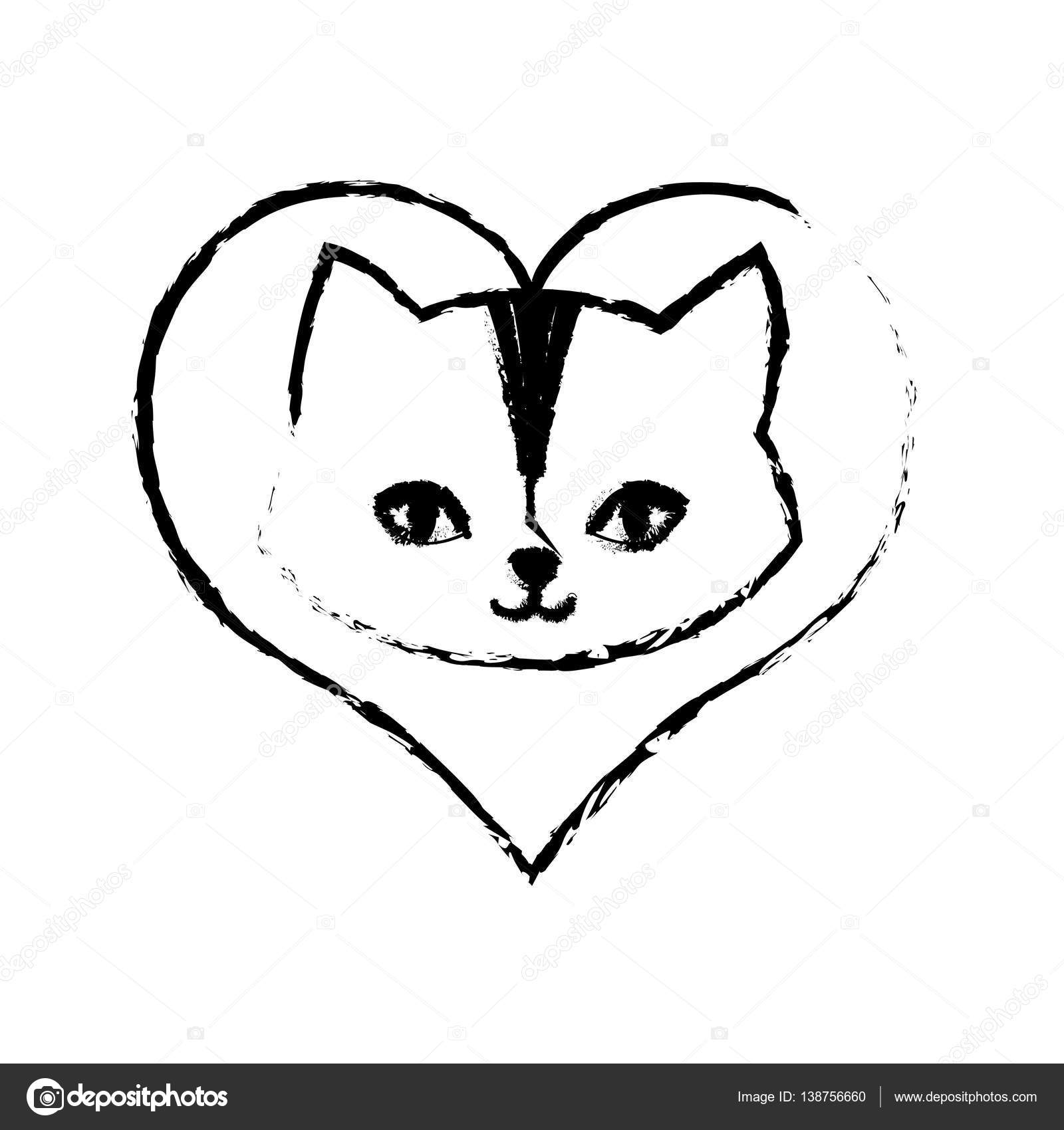 desenho de gato felino curioso amor pequeno vetores de stock djv