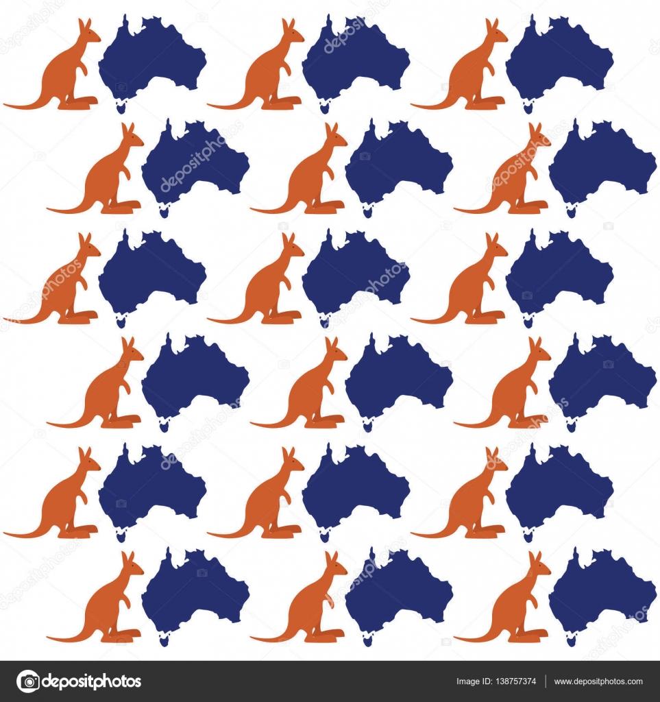 mapa canguro australia símbolo de patrones sin fisuras — Vector de ...